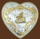 Western Pleasure German Silver & Gold Heart Horse Belt Buckle 2 3/4 x