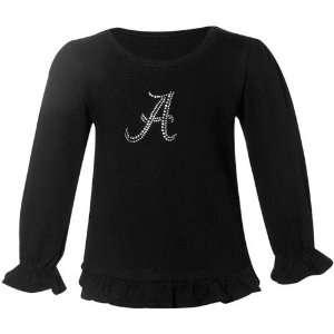 Alabama Crimson Tide Black Toddler Frill Long Sleeve T