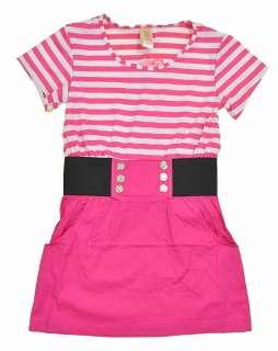 Chillipop Girls S/S Rose Pink Striped Dress Size 4 5/6 6X