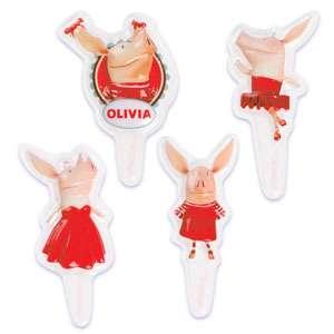 OLIVIA PIG Party CUPCAKE Decoration x6 Cake Favors Topper Kit Set Zoo