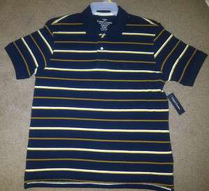 New Mens Blue Striped Polo Shirt Faded Glory Short Sleeves 100% Cotton