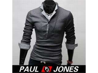 Mens Casual Slim Fit Dress Shirts T shirt Tee Tops Black/Grey US size