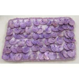 Mother Of Pearl Coin Purse Tissue Bag Cell Phone Bag In Purple Color