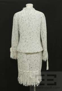 Rickie Freeman Teri Jon 2 Pc Black & White Tweed Fringe Jacket & Skirt