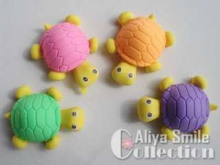 4PCS Cute Cartoon Turtle Erasers 4 color Kid Party Gift