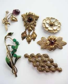 Vtg ART NOUVEAU Rhinestone Enamel BRASS Sterling SILVER Flower Pin