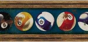 POOL BALLS / BILLIARDS ON BLUE WALL BORDER TH21552B