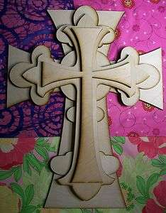 UNFINISHED WOOD LAYERED Fleur Di Lis CROSS KIT style #FDLOct02   15