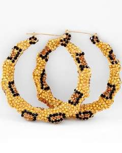 Gold Leopard Bamboo Rhinestone Hoop Earrings Basketball Wives
