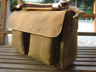 Vintage Leather Briefcase Messenger Shoulder Bag New