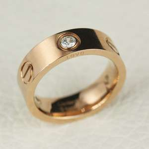 Love band 14K Rose Gold Plated GP 316L titanium steel ring 010230