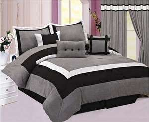 Quality Micro Suede Comforter Set bedding in a bag, Ash Grey   Black