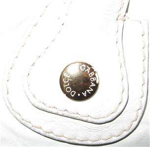 DOLCE & GABBANA WHITE LEATHER PURSE BAG