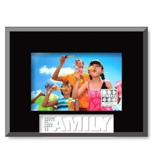 Sixtrees Family Glass Frosted Word Black Frame, 4 by 6