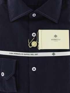 New $425 Borrelli Navy Blue Shirt 15.75/40
