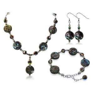 Sterling Silver Abalone Crystal Bracelet Earrings with 24