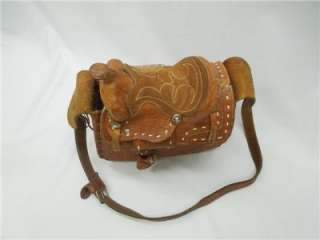 Great Vintage Mini Saddle Tooled Leather Purse