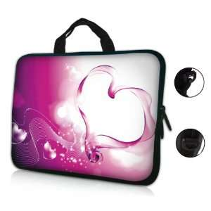 15 15.6 Pink Heart Design Laptop Sleeve with Hidden Handle & D Ring