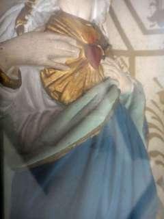 1800s antique CHALKWARE CATHOLIC MARY SACRED HEART WOOD FRAME