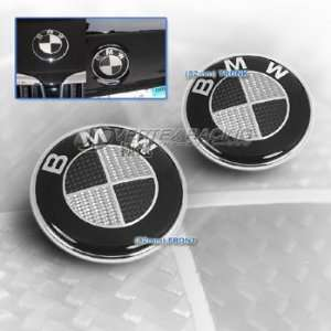 BMW 88 94 E32 7 Series Carbon Fiber Hood Trunk Roundel Emblem Black