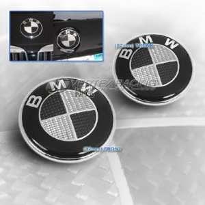 BMW 88 94 E32 7 Series Carbon Fiber Hood Trunk Roundel Emblem Black