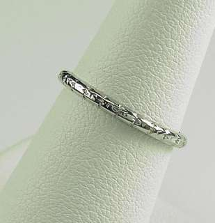 Antique Deco 18K Engraved Eternity Wedding Band Ring