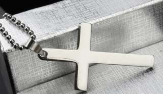 Stainless Steel Cross Silver Tone New Pendant Necklace