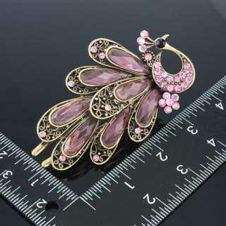 ARINNA fashion pink peacock Swarovski Crystal Hair Clip
