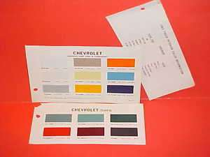 1965 CHEVROLET TRUCK+CORVAIR 95 PAINT CHIPS COLOR CHART