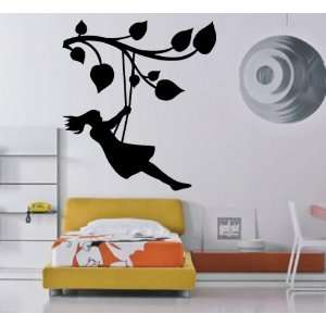 Girl on the Tree Branch Swing Kids Room Decor Wall Mural