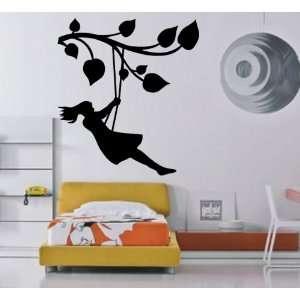 Girl on the Tree Branch Swing Kids Room Decor Wall Mural