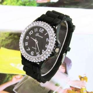 Geneva Crystal Silicone Jelly Quartz Sports Watch Men Lady Women 8