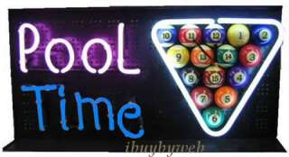 Pool Time Neon Wall Clock Bar Game Room Pool Table Sign