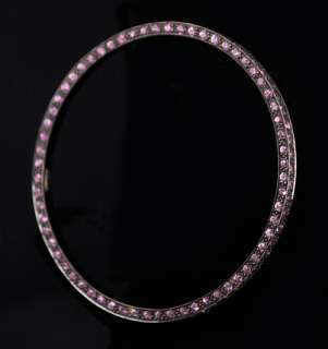 Outside Top Bottom Pink Sapphire 18k Gold Bangle Bracelet