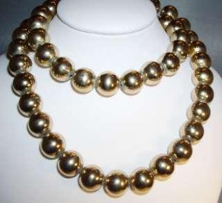 Vintage MONET Gold Tone 10mm Bead Strand Necklace 22
