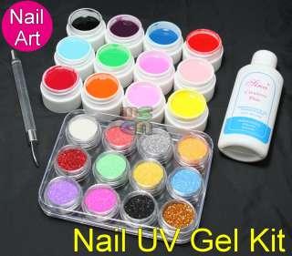 DIY Acrylic Glitter Powder UV Builder Gel Nail Art Kit #412