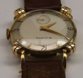 Bulova 1953 Tank Mens Wrist Watch with Knotted Lugs 17J Vintage 10K