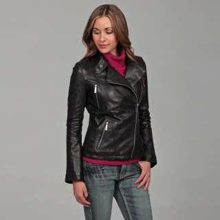 MICHAEL Michael Kors Womens Black Leather Asymmetrical Zipper Jacket