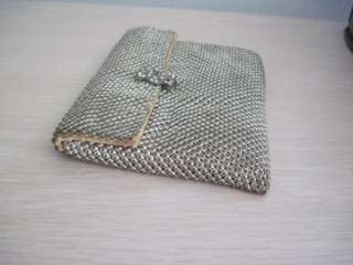 ANTIQUE 1910s Sml SILVER MESH Whiting & Davis CLUTCH PURSE