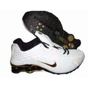 Nike Shox R4 White/Black/Gold Running Shoe Men,: Sports