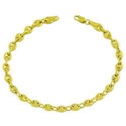 14k Yellow Gold Puff Mariner Bracelet