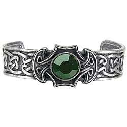 Pewter Celtic Axe Green Crystal Bangle Bracelet