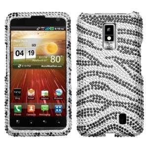 For LG Spectrum Crystal Diamond BLING Case Snap On Phone Cover Zebra