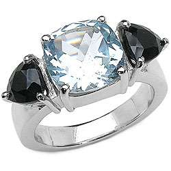 Sterling Silver Blue Topaz and Black Sapphire Ring (Size 7