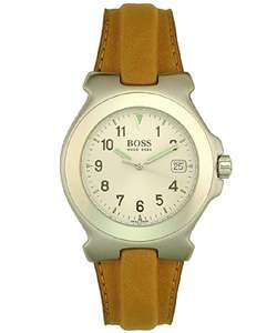 Hugo Boss Mens Silver Dial Leather Strap Watch