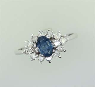 75 Carat Natural Ceylon Sapphire & Diamond Ring 14k White Gold