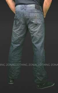 Black Studded Cross Denim Jeans Relaxed Straight Leg NWT