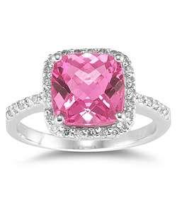 14k Gold Cushion cut Pink Topaz Diamond Ring