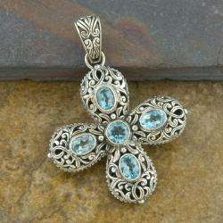 Silver Cawi Blue Topaz Cross Pendant (Indonesia)