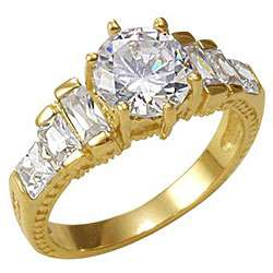 Simon Frank 14k Gold Overlay Stairway to Heaven Cubic Zirconia Ring
